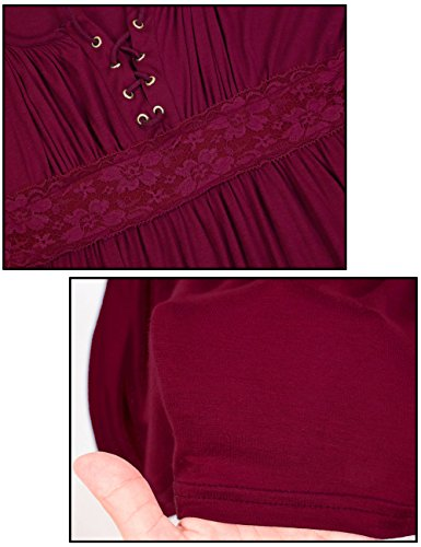 Flying Rabbit Damen Lace Schulterfrei Slim Tops Baumwolle Womens T-shirt Party Blouse Oberteile Rot