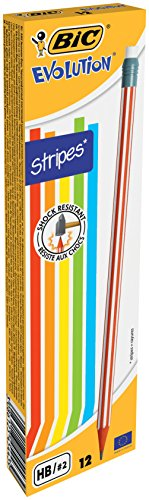 BIC Bleistift Evolution (Stripes 646 HB mit Radierer, Schachtel à) 12 Stück, farbig sortiert