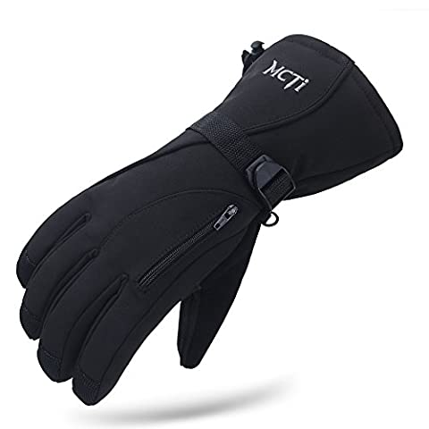 MCTi Waterproof Winter Ski Gloves 3M Thinsulate Thermal Snowboard Cycling Snowmobile Climbing Hiking Gloves Black L
