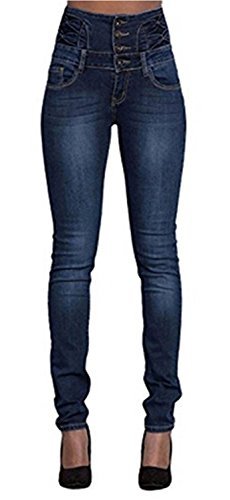 LAEMILIA Damen Jeans mit Hoher Taille Stretch Dünn Skinny Hose -