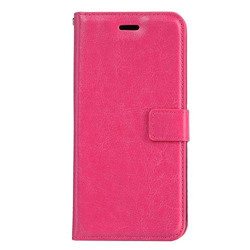 iPhone 6 Hülle Leder, E-Lush Premium PU Leder Tasche für iPhone 6 6S (4,7 zoll) Einfach Einfarbig Muster Klapphülle 360 Full Body Protection Flip Case Wallet Cover Weiche Flexible TPU Soft Rückseite A Rosa