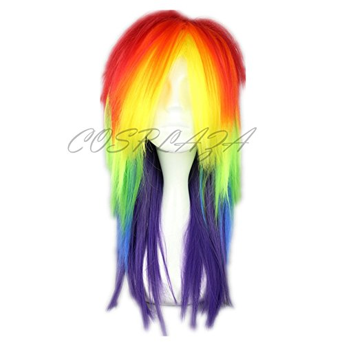 COSPLAZA Perücke Mischfarbe Anime Cosplay Wigs My Little Pony Rainbow Dash Haar