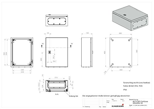 Metallgehäuse für z.B. Schaltschrank 300x400x150mm (BxHxT) - 2