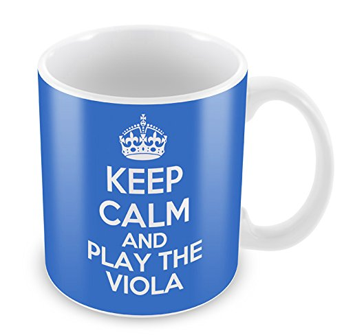 Blau Keep Calm and Play die Bratsche Becher Kaffee Tasse Geschenkidee Geschenk Musik