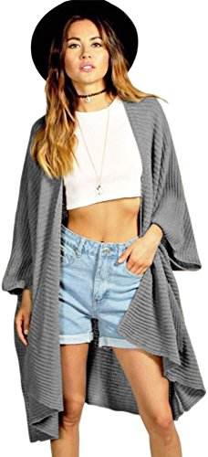 Ladies Ribbed Pocket Knitted Oversized Baggy Long Jumper Cape Cardigan Loose Casual Top GREY UK SIZE M/L(12-14)