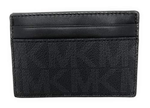 Michael Kors Men's Monogram Leather Card Case Money Clip Wallet Black