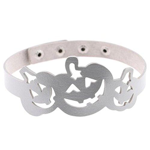 rei Kürbis Damenkette Tattoo-Halskette Halloween Halsband Cosplay Kostümparty Einstellbar Kette Silber 40CM (Halloween 3 Tattoo)