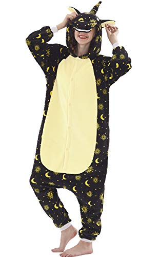 Erwachsene Unisex Einhorn Tiger Lion Fox Onesie Tier Schlafanzug Cosplay Pyjamas Halloween Karneval Kostüm Loungewear (Sun Moon Unicorn, S passt Höhe ()