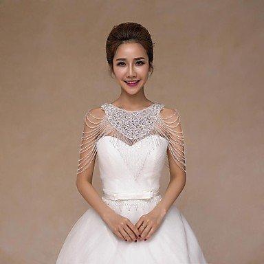 Heart&M Wedding Bride Shoulder Chain Sequined Crystal Wraps Collars Sans manches Floral Tassel Ivoire Wedding Accessing Appliques