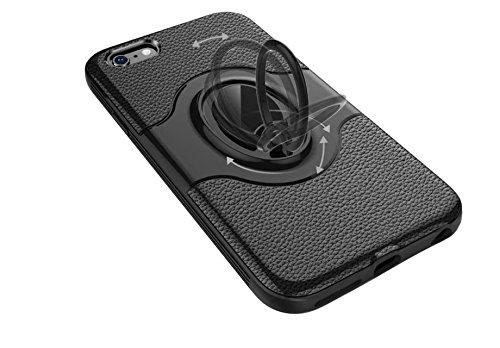 cover iPhone 7/8 Silicone Blu+Nero Soft cover TPU+Hard PC telaio paraurti Strisce Modello Litchi Assorbimento magnetico anello supporto case DECHYI Argento+Nero