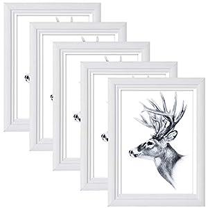 5er Set Bilderrahmen A4 21 * 29,7cm Artos Stil Holz Rahmen Fotogalerie Glasscheibe Weiß