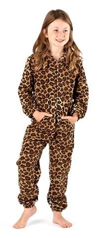 Girls Cow Spot and Leopard Head Soft Warm Fleece Onesies