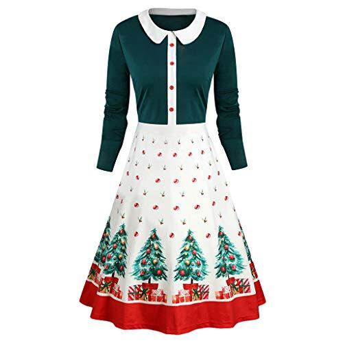 Zegeey Damen Kleid Weihnachten Weihnachtsdeko Langarm Christmas Party Rockabilly Abendkleid KostüM Petticoat Kleider Faltenrock (Clown Kostüm Mieten)