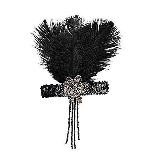 Flapper Kostüm Mädchen - YWLINK Gatsby KostüM Accessoires Klassisch Cocktail Tea KopfstüCk Flapper Stirnband Tanzparty Party Retro Headwear FüR MäDchen Und Damen 1920er Jahre ZubehöR Stirnband