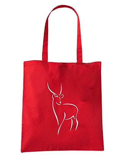 T-Shirtshock - Borsa Shopping FUN0413 1611 diecut deer decal 19261 Rosso