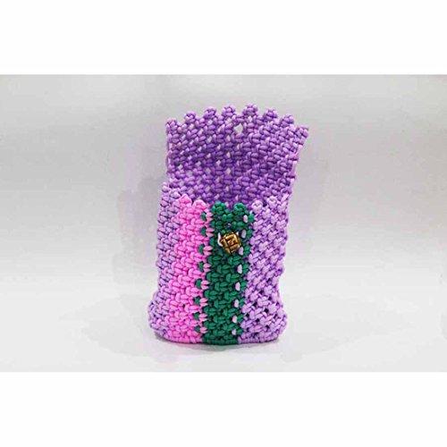 Handloom Cord Small Bag (16 X 15 X 4.5) - Violet-Pink-Dark Green