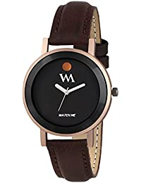 Watch Me All Black Collection Black Dial Brown Leather Strap Watch For Women And Girls WMAL-331-F