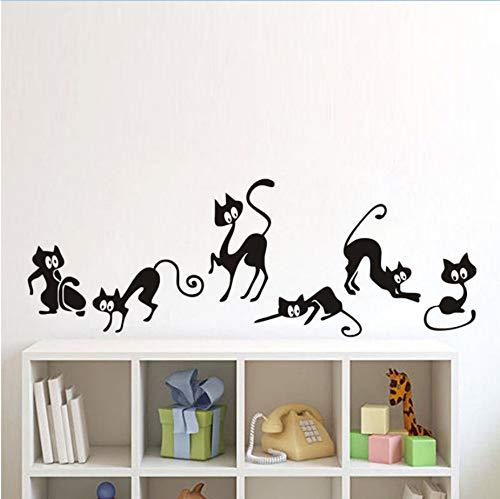 WFYY Gruppe Nette Katze Wandaufkleber Karikatur Katze Spielen Nette Wandaufkleber Für Hauptdekoration 42X25 cm (Für Kinder Halloween-gruppe-spiele)