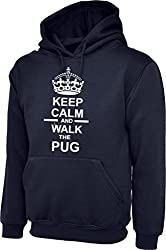 Keep Calm And Walk The Pug Dog In Navy Blue Hoody & White Text