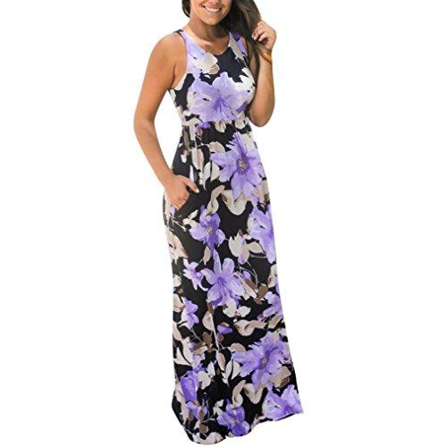 Damen Kleider,LMMVP Frauen Ärmelloses mit Taschen Blumenmuster Kleid (XL, Purple) (Lila Flapper Kleider)