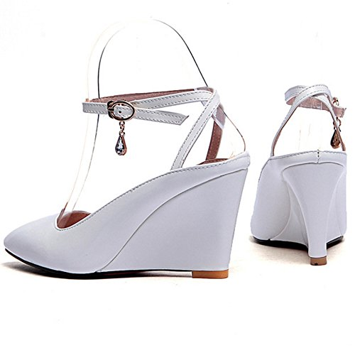 COOLCEPT Femmes Mode Cheville Sandales Bout Ferme Compenses Slingback Chaussures Blanc