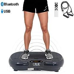 ISE Plataforma Vibratoria Oscilante de Fitness, Máquina de Entrenamiento, 99 Niveles de Frecuencias de Vibraciones, 5 Programas, Altavoces Bluetooth, Control Remoto y Bandas de Elásticas, Negro,SY-328