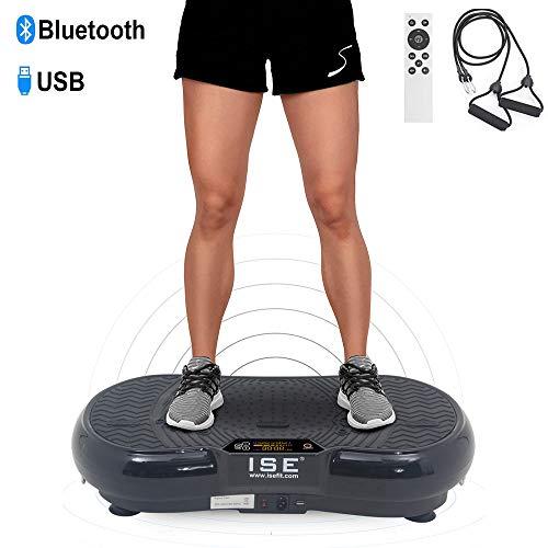 ISE Plateforme Vibrante Fitness, Grande Surface 67x36cm,99 Niveaux de Vitesses avec Bluetooth/USB/Télécommande,Idéal pour Fitness et Musculation | Perte de Poids Rapide,Max.150 KG,SY-328 No
