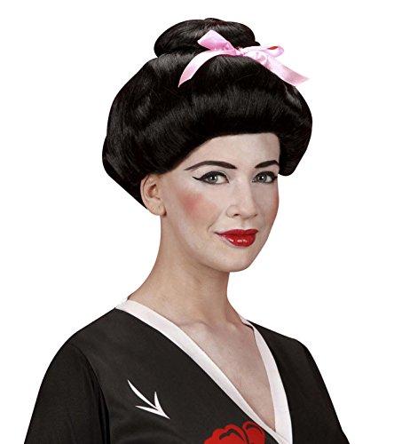 WIDMANN Perücke, Modell Geisha mit Band, Schwarz/Weiß (Oriental Themed Kostüm)
