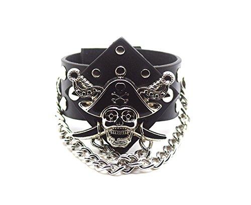 ossbones Leder Goth Steampunk Stil Armband Handgelenk Manschette Armbänder Gothic Goth emo Cyber Vintage Stil Biker Rock Adult Teens (Piraten Armbänder)
