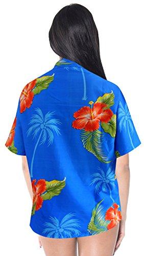 La Leela lässig aloha Blumen Frauen Knopf unten Bademoden Tunika kurze  Ärmel hawaiische Lager glatt likre ...