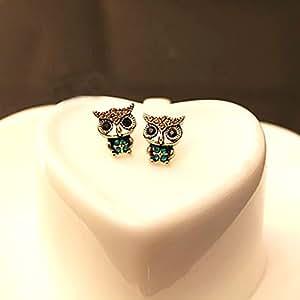 SYT Une paire de boucles d'oreilles vintage bijoux vintage bronze hibou Boucles d'oeil noir