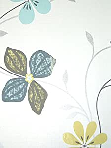 PS action 13206–10 papier peint motif fleurs gris/vert/bleu/blanc