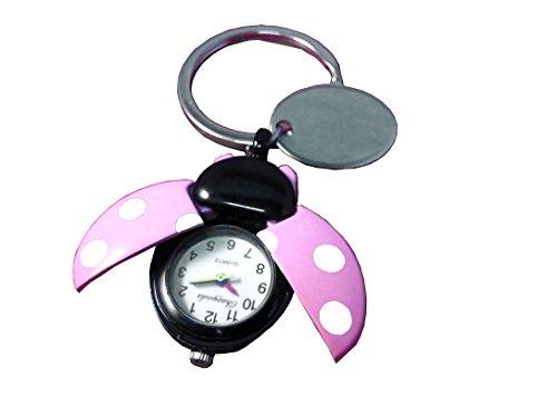 Plaque de coccinelle Rose Porte-clés avec montre dans étui en velours noir-ref- O22PNK2–k
