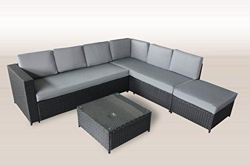 XXL PolyRattan Lounge 235×221 cm Garten Möbel in SCHWARZ incl. Glas sowie Polster in GRAU Gartenmöbel Lounge Sitzgruppe