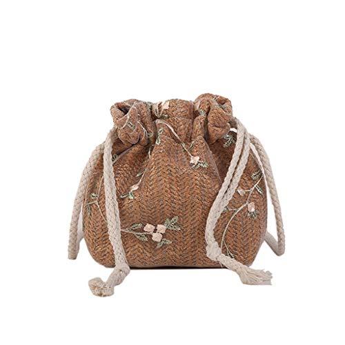 Dorical Stroh Crossbody für Mädchen Damen Handgewebte Schulter Umhängetasche Geldbörse,Sommer Strand Taschen mit Tunnelzug,Damentasche für Frauen Ausverkauf(Z01-Braun)