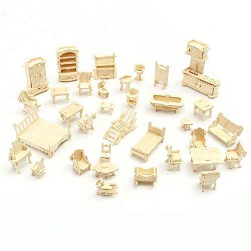 Baifeng 34 Pezzi/Set 3D di Legno Miniatura Puzzle Casa Delle Bambole Mobili Modello Mini Puzzle per Bambini Regalo