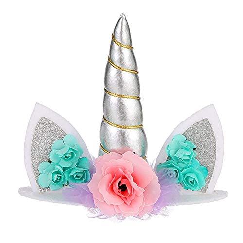 rfrrsss Stilvoll Kunststoff Einhorn Kopfband Einhorn Party Stromversorgung Party Geschenk Mädchen Haar Accessory1pc für Wohndeko - Silbern