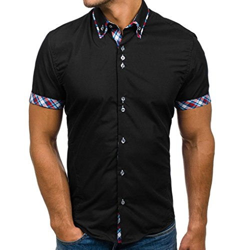 ESAILQ Mens Polo Shirt Blouse Summer Double Collar Slim Patchwork Short Sleeved T-Shirt Tops Muscle fit White Custom Black Button up v-Neck Hawaiian