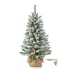 Idea Regalo - artplants.de Mini Albero di Natale Vienna in Sacco di Iuta, innevato, 90cm, Ø 50cm - Abete Artificiale/Albero Tessile