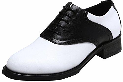 rbige Vintage 50 Jahre Saddle Oxford, Leder Oxford Perforiert Schwarz38.5 (Fünfziger Jahre Schuhe)