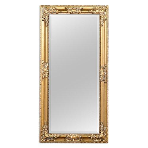 LEBENSwohnART Wandspiegel BESSA Gold antik 100x50cm barock Design Spiegel pompös Holzrahmen