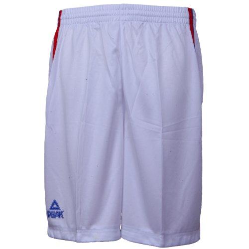 Peak Sport Europe, Pantaloni corti Uomo, F771103 Bianco (weiß-rot)