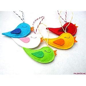 Vögelchen Anhänger 5 Stück Filz Deko Frühling Ostern