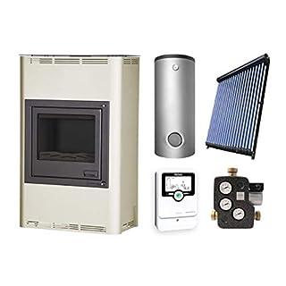 Aquaflam KS2574 Basic 25kW Creme wasserführender Kaminofen + Hygienespeicher 1000 Liter 2 SWT + Solar-Set 5 (18 m²)