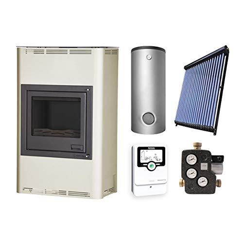 Aquaflam KS2572 Basic 25kW Creme wasserführender Kaminofen + Pufferspeicher 1000 Liter 2 SWT + Solar-Set 5 (18 m²)
