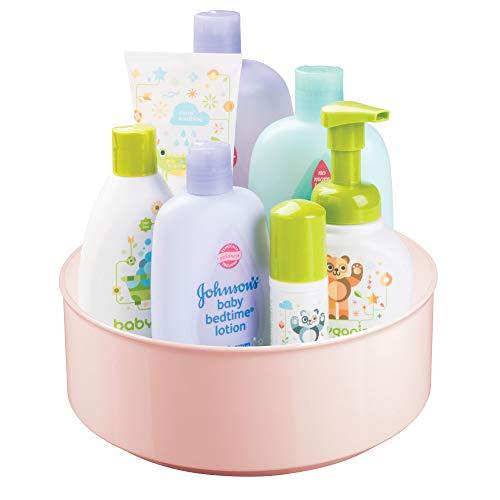 mDesign drehbare Ablage für Zubehör - stilvolle Ablagefläche für Babyausstattung wie Flaschen und Schnuller - runde Aufbewahrung aus BPA-freiem Kunststoff und Edelstahl - rosa