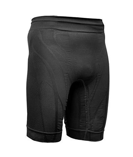 VibroShield Kompressions Hosen Herren Kompressions Shorts, Compressions Shorts, Short Tights, Kompressionshorts mit 18 Stoffstrukturen, 2-lagiges Funktionsgewebe, Kordel (schwarz, L)