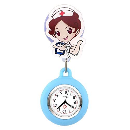 JSDDE Uhren Krankenschwesteruhr Pulsuhr Silikon Hülle FOB Uhr Pflegeruhr Cartoon Schwester Schwesternuhr Brosche Taschenuhr Kitteluhr Analoge Quarzuhr (Blau)