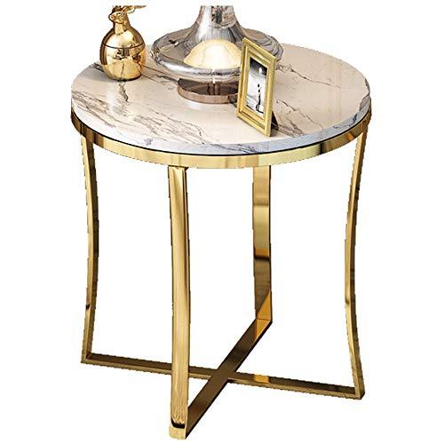 Round Table Basse/Salon Table Basse, Matériel en Bois Exquis, Maison Salon Bureau Décoration Meubles, Blanc (47 × 47 × 55.5cm)