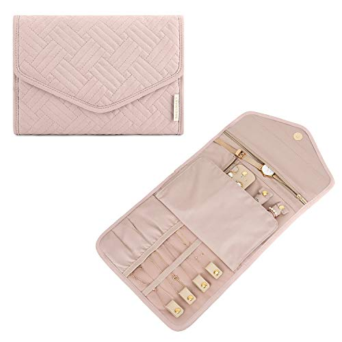 BAGSMART Schmuck Tasche Schmuckroll Organisator Reise Faltbar für Uhren, Ringe, Ohrringe, Halskette, Armbänder Rosa